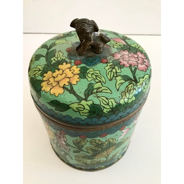 Mid 19th Century Green Cloisonné Covered Jar For Sale - Image 4 of 8