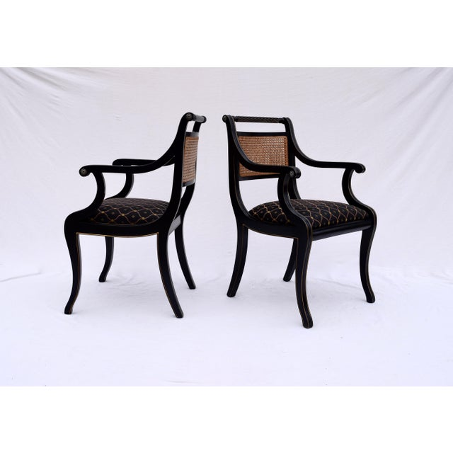 Regency Double Caned Dining Chairs Made in Italy, Set of 8 For Sale - Image 11 of 13