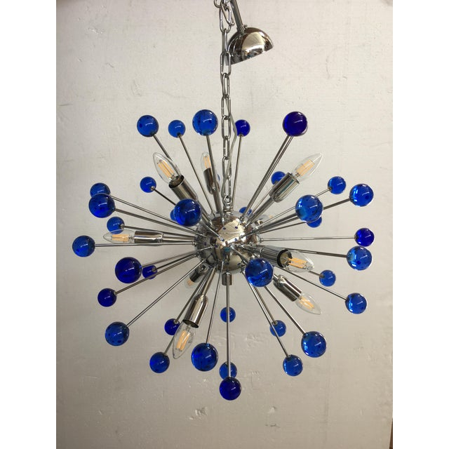 Murano Glass Chandelier in Sputnik Style With a Kromo Frame For Sale - Image 6 of 7
