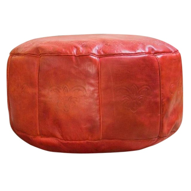 Antique Revival Cranberry Red Leather Pouf Ottoman - Image 1 of 8