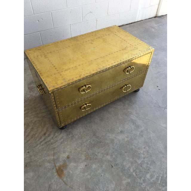 Gold Sarreid LTD Brass Two-Drawer Coffee Table For Sale - Image 8 of 8