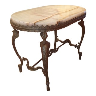 Vintage Neoclassical Marble and Gilt Metal Side Table For Sale