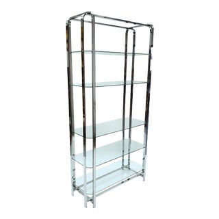 Baughman Style Mid-Century Modern Glass and Chrome Shelf For Sale