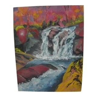 "1991 ""Journey's End Falls"" Plein Air Landscape Acrylic Painting For Sale"
