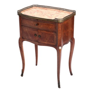 Antique Louis XV Style Kingwood Nightstand Side Table W Marble Top Bronze Gallery Rim For Sale