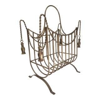 Large Bronze Hollywood Regency Iron Rope and Tassel Magazine Rack