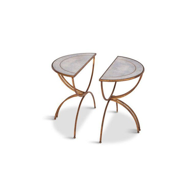1950s Maison Baguès Demi-Lune Sidetables With Mirrored Glass Tops For Sale - Image 5 of 13