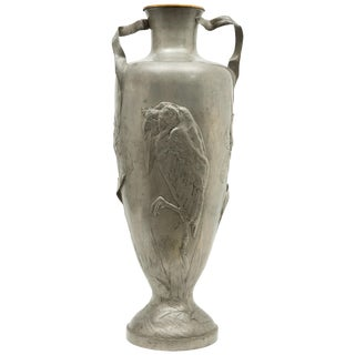 Kayserzinn Art Nouveau Monumental Tall Pewter Vase For Sale