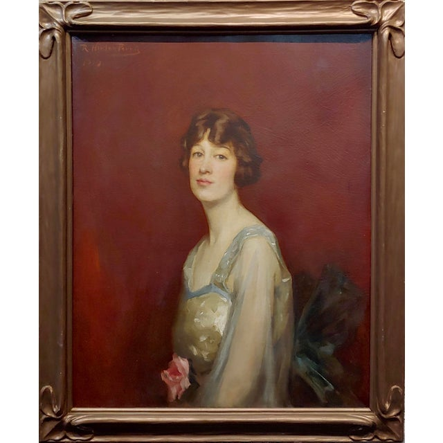 Roland Hinton Perry -Portrait of a Woman in a Stylish Dress -c.1919 Oil Painting Oil Painting on canvas -signed and dated...