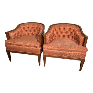 Vintage Pumpkin Upholstered Chairs - a Pair For Sale