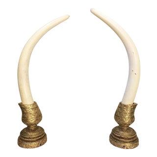 Monumental Decorative Faux Elephant Tusks - A Pair