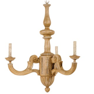 French Small Three-Light Natural Wood Chandelier in Warm Tan Wood Color For Sale