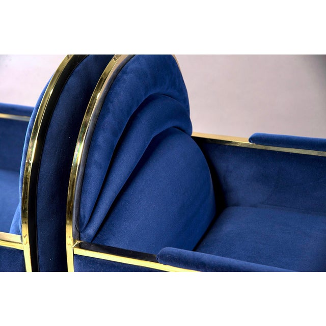Metal Pair Design Institute America Baughman Style Brass & Blue Velvet Club Chairs For Sale - Image 7 of 9