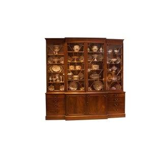 George III Period Mahogany Breakfront Bookcase, England, Circa 1790