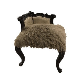 Tibetan Sheepskin Corner Bench