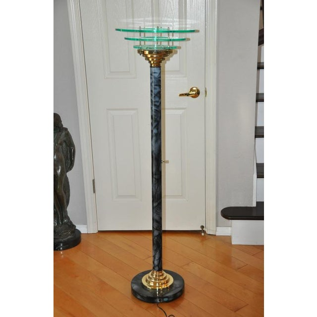 Designer 1990s Mid-Century Modern Acrylic Torchiere Floor Lamp For Sale - Image 10 of 10