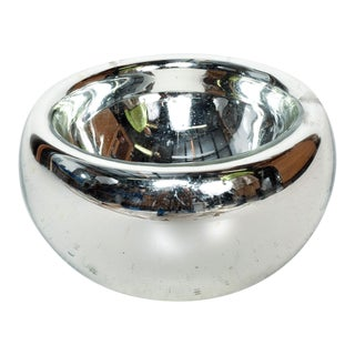 Mid Century Modern Large Mercury Bowl in Silver For Sale