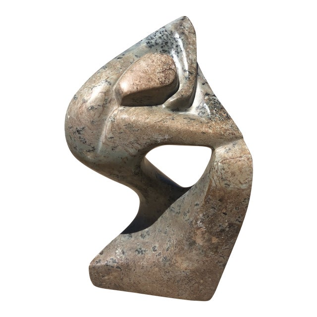 Signed Carved Stone Female Figure Sculpture For Sale