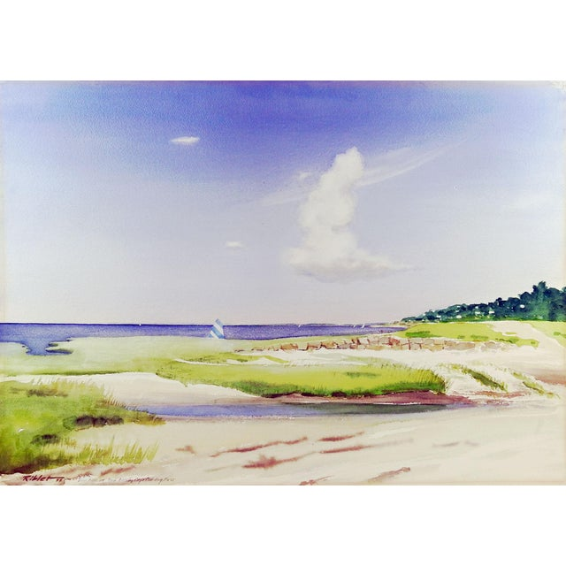 1970s Rock Beach, Cape Cod Watercolor Painting For Sale - Image 5 of 5