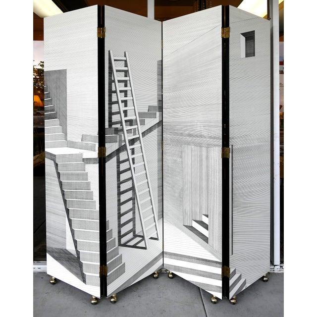 "Piero Fornasetti for Fornasetti-Milano, ""Scaletta"" Folding Screen, Signed 2001 For Sale - Image 13 of 13"