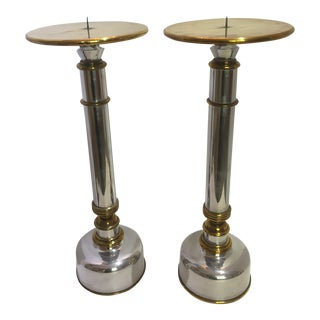 Large Scale Candle Sticks Holders in Aluminum and Brass - a Pair For Sale