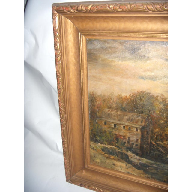Painting of a Country Mill by a Stream For Sale - Image 5 of 8