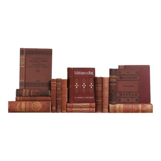 Distressed Antique Book Set in Burgundy & Rust, S/15 For Sale