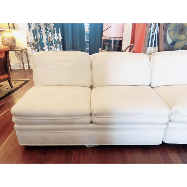 Textile Vintage 1984 White Sherrill Sectional Sofa For Sale - Image 7 of 11