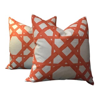 "Thibaut Down Filled Pillows in ""Cyrus Cane"" Coral Colorway - a Pair For Sale"