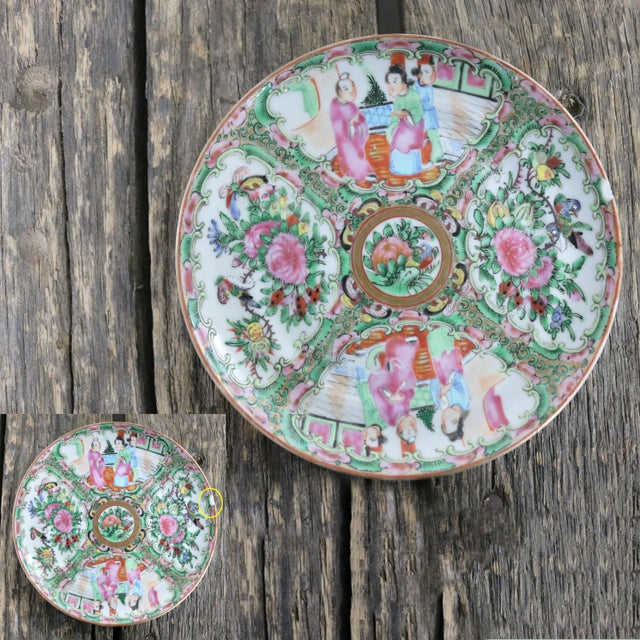 Antique Chinese Qing Rose Medallion Porcelain 6-Inch Cupped Plates Set of 8 For Sale - Image 12 of 13