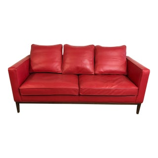 Mid Century Style Red Sled - McCreary Modern for Room & Board Leather Sofa For Sale
