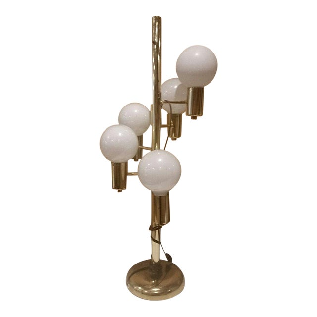 Mid-Century Brass Tone With 5 Globe Lights Table Lamp For Sale