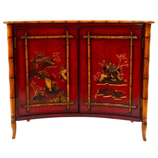 Chinoiserie Red Faux Bamboo Cabinet