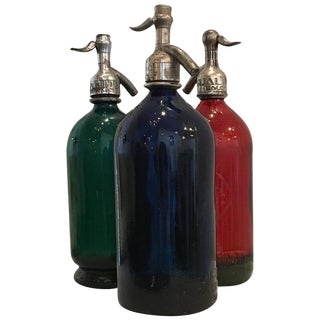 Vintage Argentinian Green, Red and Blue Seltzer Bottles