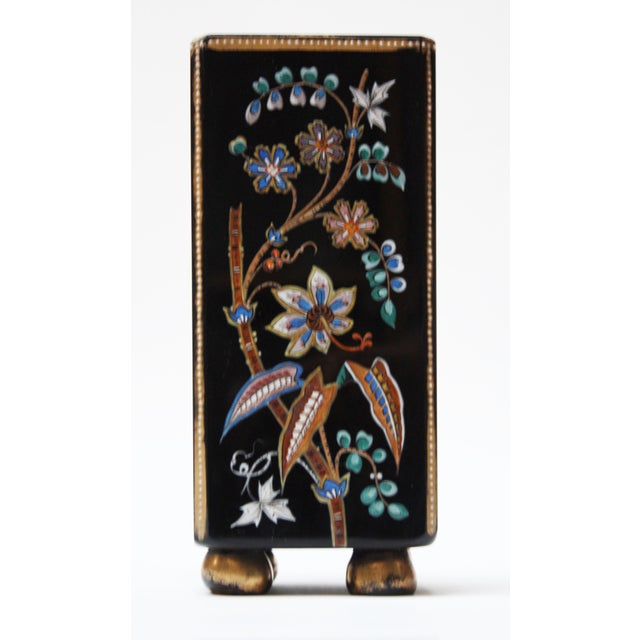 Asian Chinoiserie Style Ebony Rectangular Ceramic Vase With Floral Decoration For Sale - Image 3 of 8