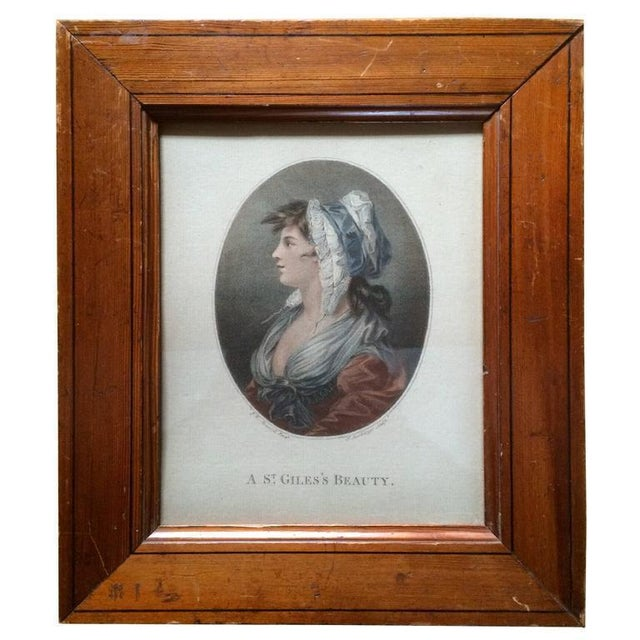 """White 18th Century Color Engraving """"A St. Giles's Beauty"""" For Sale - Image 8 of 8"""