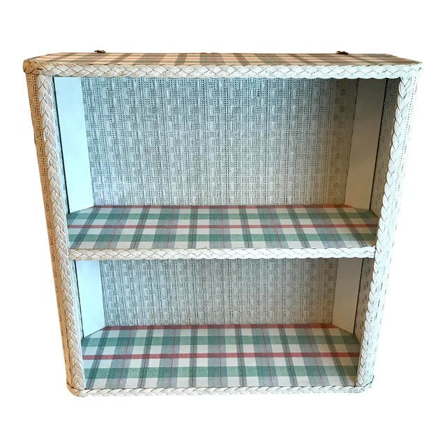 Cottage White Wicker Hanging 2 Tier Wall Shelf For Sale