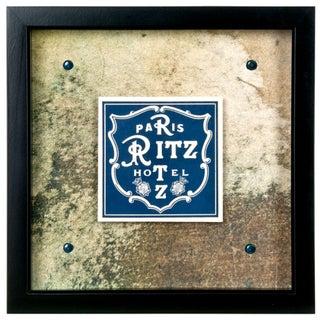 Framed Vintage French Ritz Hotel Luggage Label