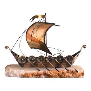 DeMott Brass Sailboat Sculpture For Sale