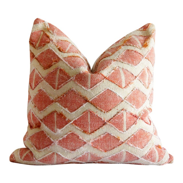 Contemporary Coral Color Diamond Silk Embroidery Pillow Cover For Sale