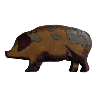 19th Century Rustic Handcarved Wooden Pig Figurine For Sale