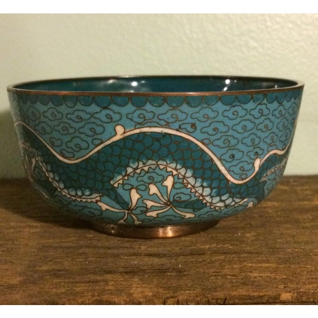Antique Cloisonne Bowl Featuring Chinese Dragons - Image 3 of 5
