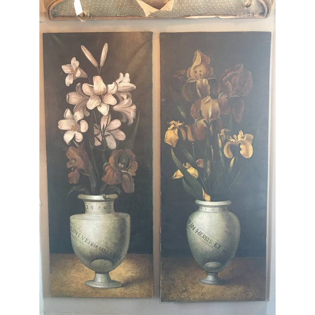 Oil Paint 19th Century French Monumental Floral Paintings - a Pair For Sale - Image 7 of 7