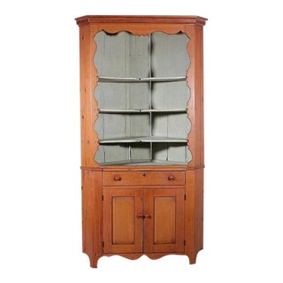 American Pennsylvania Pine Open Front Corner Cupboard For Sale
