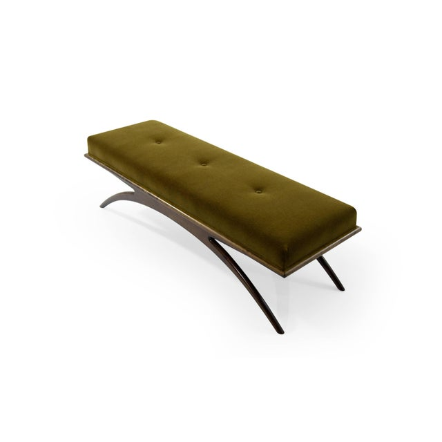 Mid-Century Modern Convex Bench in Olive Mohair For Sale - Image 3 of 10