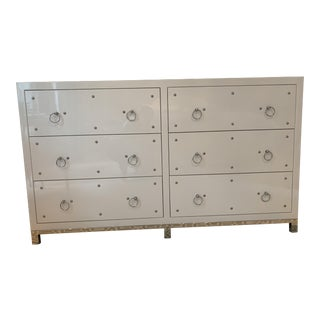 White High Gloss 6 Drawer Mirrored Top Dresser For Sale