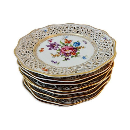 Antique Set of Dresden Plates - 8 For Sale - Image 4 of 7