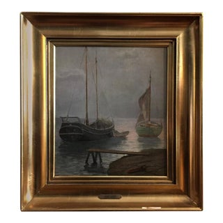 Peter Busch, Danish, Harbor Scene, circa 1900 For Sale