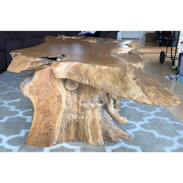 Teak Wood Slab Coffee Table: Rustic One Of A Kind Natural Teak Wood Slab Coffee Table