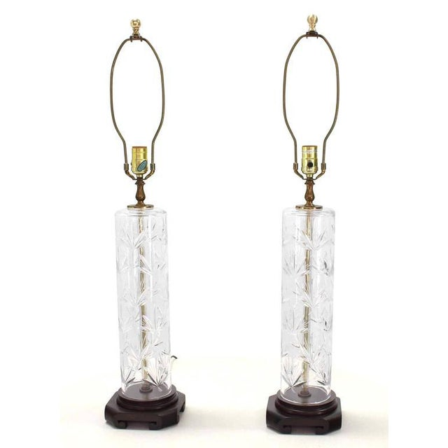 Crystal Pair of Tall Cut Crystal Cylinder Table Lamps For Sale - Image 7 of 7